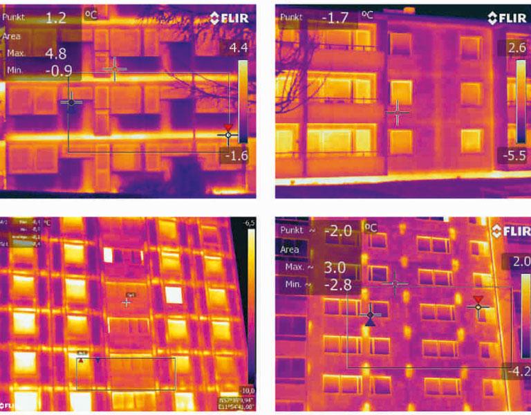 Figur 2. Termogrammen visar olika typer av köldbryggor för olika byggsystem i jämförelse. De övre byggnaderna har båda utfackningsväggar men bjälklagskanten ligger olika långt ut i ytterväggen. Socklarna är oisolerade. De nedre byggnaderna har båda betongsandwichväggar, men de till vänster är bärande upplag för bjälklagen och de till höger istället infästa i stommen i punkter. Förstärkningar i betong ger köldbryggor. Termogrammen till vänster visar båda förstärkta värmeförluster i bjälklagskant orsakade av att ettrörsvärmesystem är ingjutna i mellanbjälklaget, i det övre fallet oisolerat och i det nedre fallet begränsat isolerat. Observera att visade temperaturskillnader bara kan jämföras inom, inte mellan, bilder.